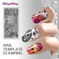 Cuadrado Nail Art Plantilla stamping Chic Flower Nails Sello plate Imagen DIY plantilla de la plantilla Herramienta de Pedicura Manicura Tatuajes