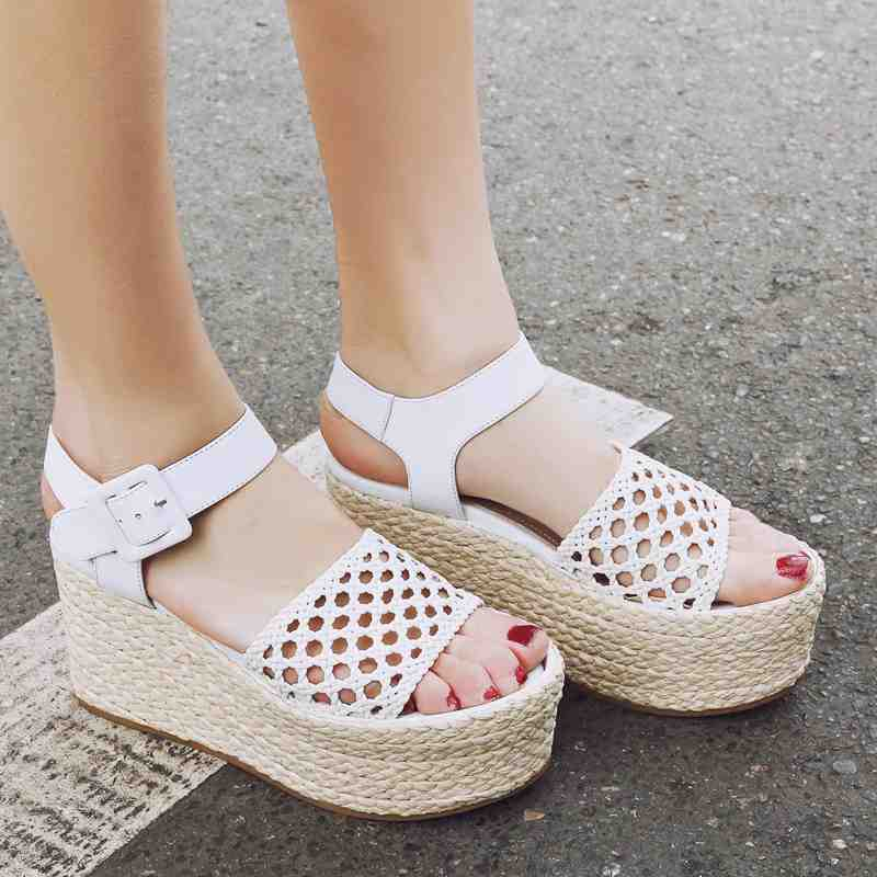 ФОТО Shoes woman hollow platform wedges women sandals ankle straps peep toe straw high heels Hand-woven sandals increased shoes 98