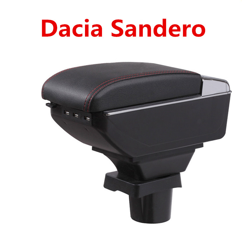 For Dacia Sandero armrest box central Store content Storage box Dacia armrest box with cup holder ashtray USB interface