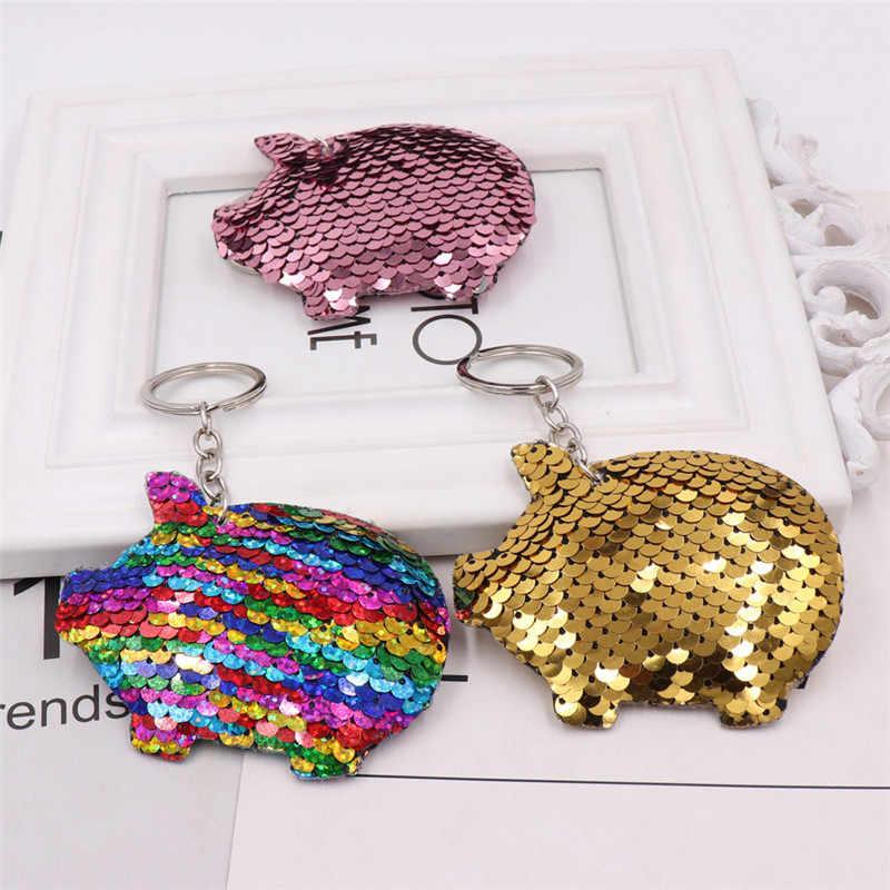 Sitaicery Bonito Pompom Glitter Lantejoulas Presentes Da Corrente Chave Chaveiro Chaveiro de Porco Para As Mulheres Homem Llaveros Mujer Acessórios Chave Anel