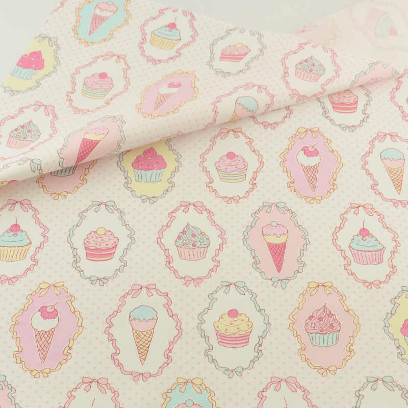 Cotton Fabric Pink Icecream Sewing Cloth Cover Home Textile Decoration Doll Bedding Clothing Patchwork Teramila Fabrics Quilting