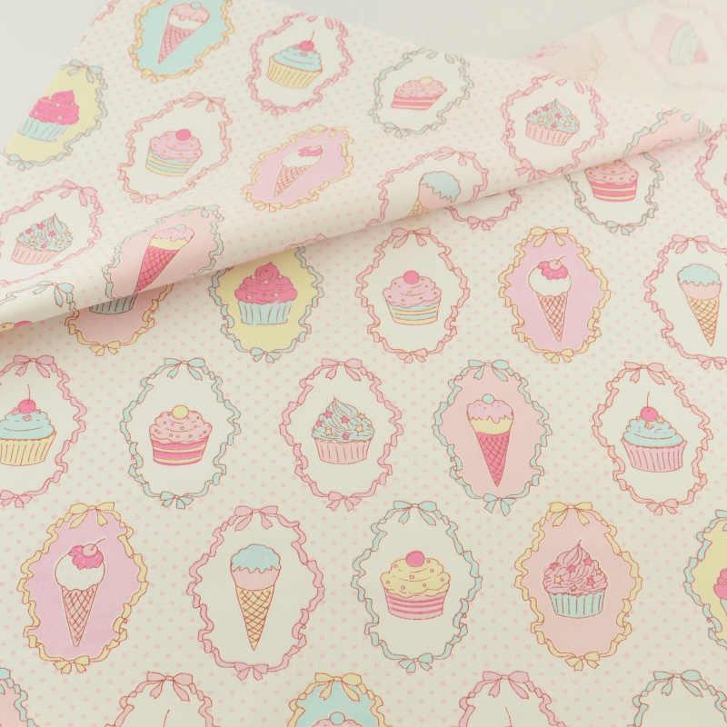 نسيج القطن الوردي الآيس كريم الخياطة غطاء من القماش المنسوجات المنزلية الديكور دمية الفراش الملابس خليط الأقمشة Teramila اللحف