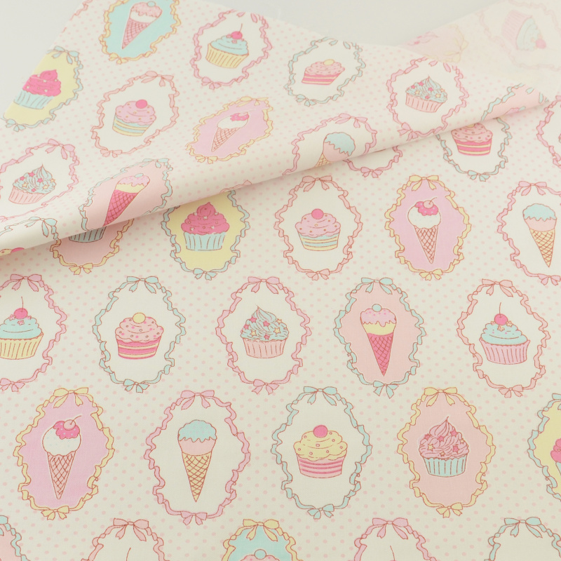 Cotton Fabric Pink Ice Cream Syning Cloth Cover Hjem Tekstil Dekoration Dukkert Sengetøj Beklædning Patchwork Teramila Stoffer Quilting