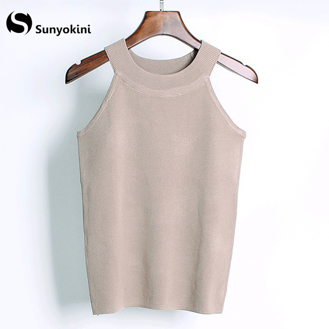 4d156e92c716b Sunyokini Sexy Tank Tops Off Shoulder Knitted Crop Top Bustier Women Summer Casual  Round Neck Vest Elastic Camis Sleeveless Tees