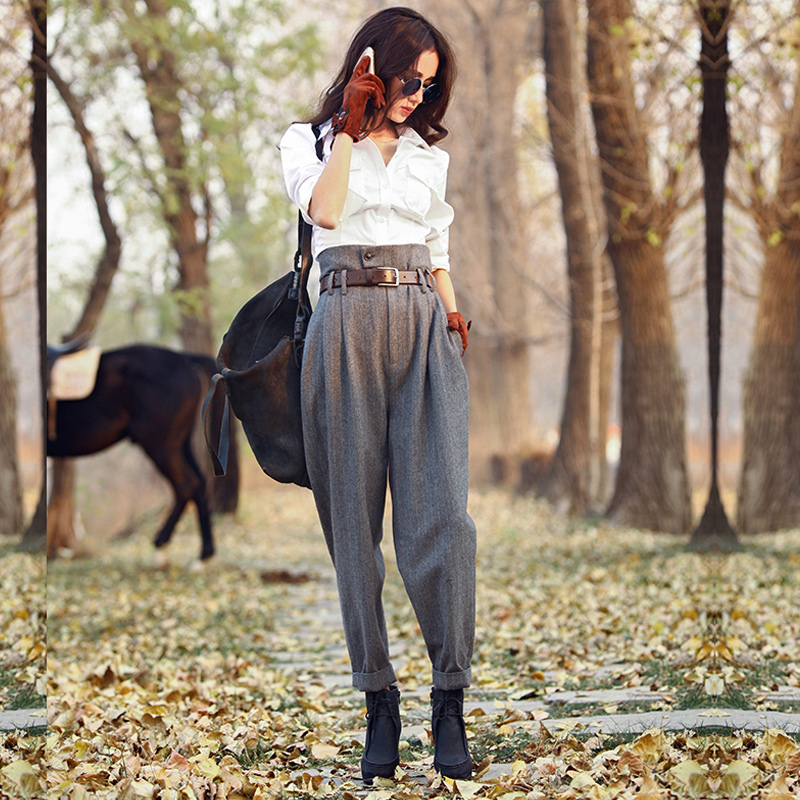 AIGYPTOS Spring Autumn Woolen High Waist Women England Style Stripe Slim Skinny Pants Casual Ankle Length Trousers