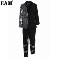 EAM 2018 New Spring Lapel Long Sleeve Black Sequins Split Joint Irregular Pants Two Piece