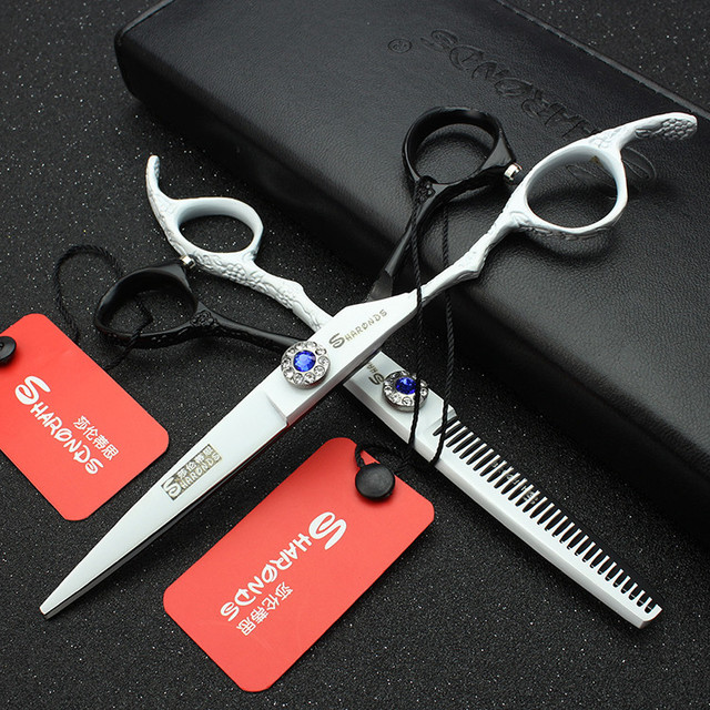 Hair stylist professional 6-inch left-handed hairdressing scissors personality tri-color barber scissors thin set 5