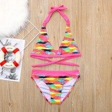 Children baby girl swimwear Kids Bikini Beach Flower Print Swimsuit+Shorts Swimwear Set infant swimsuit  HOOLER kids tropical print swimsuit
