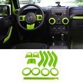 12 Шт. Зеленый ABS Chrome Руль Отделка Кондиционер вентиляционные Интерьер Аксессуары Дверная Ручка Крышки Комплект Для Wrangler JK 11-16