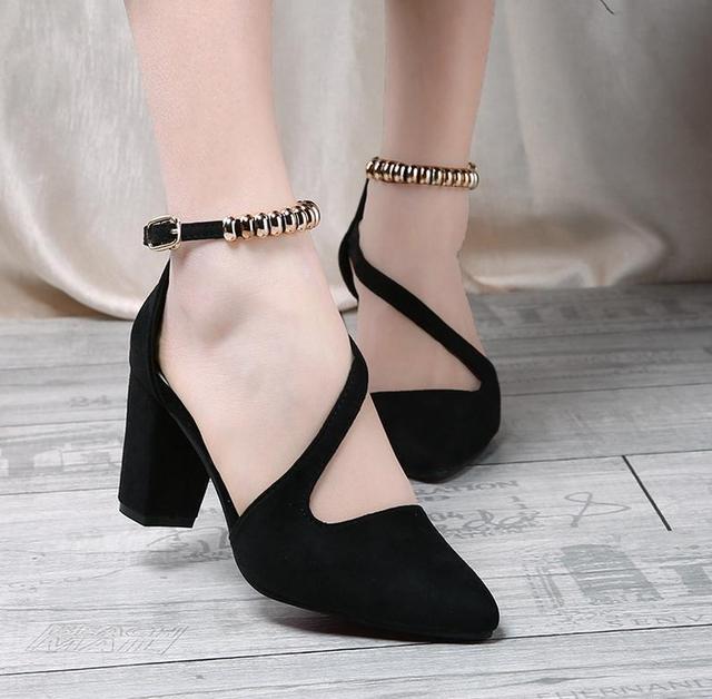 5..New summer shoes women 2017 summer Roman pu high heels spike pointed shallow sexy fashion Europe brand women sandals MUJER