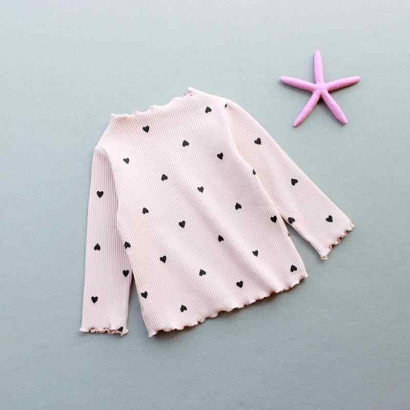 2018 Güz Kış Yürümeye Başlayan Bebek Ruffles T Shirt Uzun Kollu Baskı Üstleri Kız Gömlek Elbise Donanma Temel Gömlek Çocuk T-Shirt JW6626