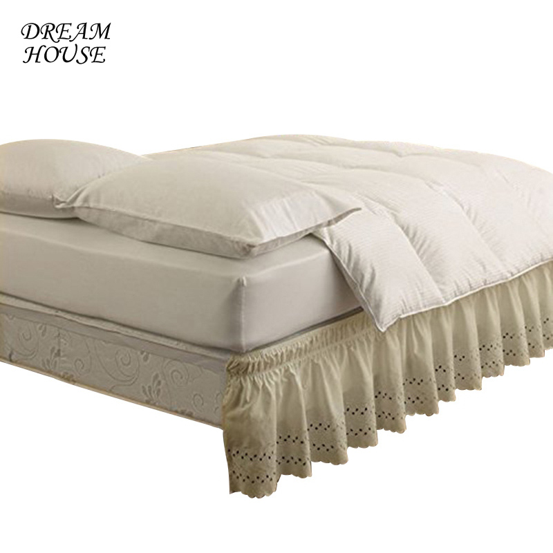 Home Bed Shirt for King Queen Size Rufflled Bedspread Fashion Elastic Bed Skirt without Surface Bed Shirt Wedding Home Decor