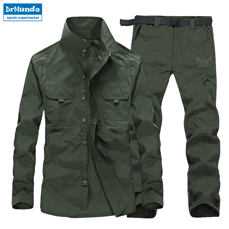 Summer Waterproof Hiking Jacket suits Men Plus Size Quick Drying