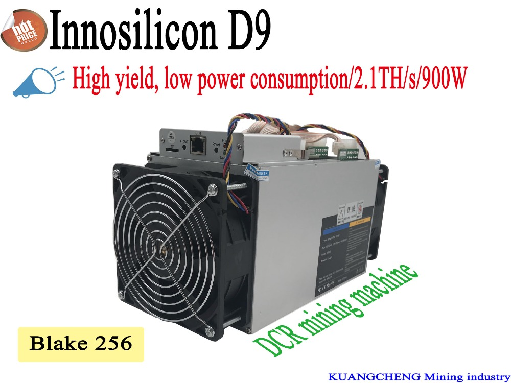 KUANGCHENG New Style DECRED Miner Innosilicon D9 With + PSU SiaMaster Pow Algorithm 2.4TH/s 900W For DECRED