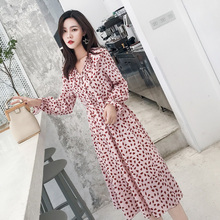 Korean Style Elegant Dress Women Long Sleeve Autumn Bowtie Ruffles Printed Chiffon Dress Pink S-XXL Sweet Ladies Dresses Casual korean kawaii black elegant dress long sleeve button turn down collar autumn dress women s xl sweet simple casual dresses ladies