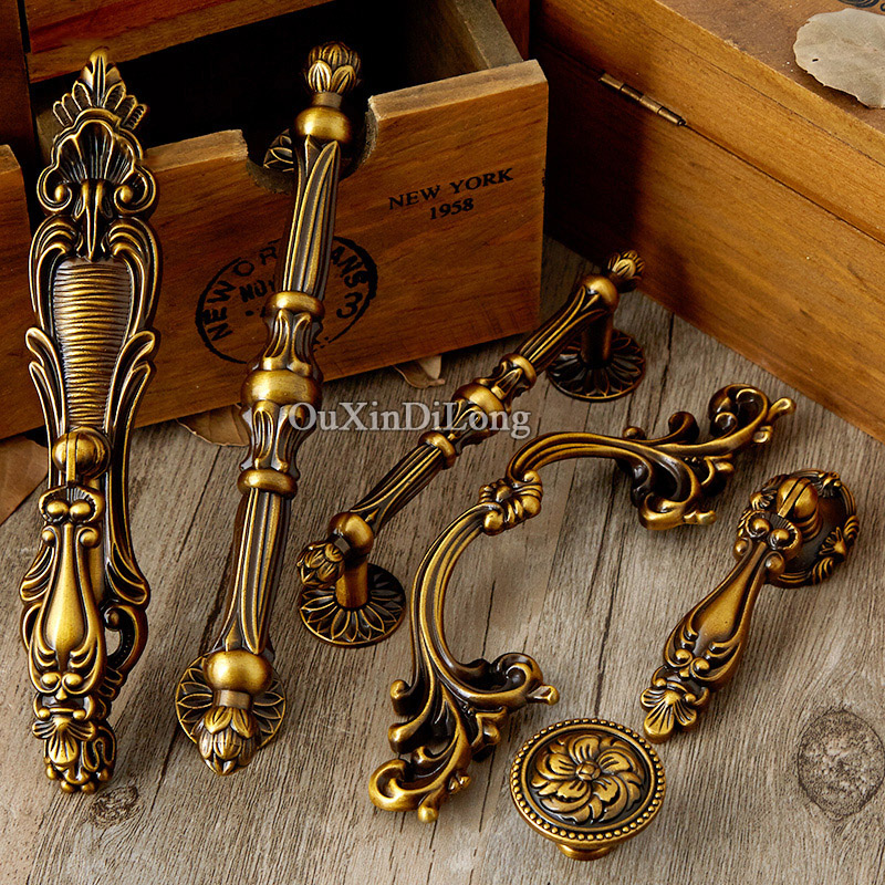 Retro Style 10PCS Door Handles European Antique Furniture Handles Cupboard Wardrobe Drawer Pulls Kitchen Cabinet Handles & Knobs