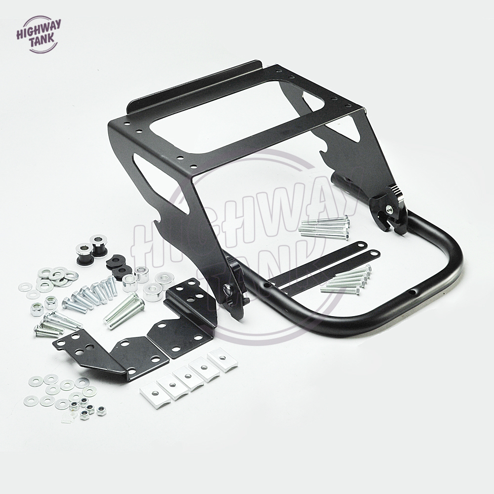 Black Motorcycle Solo Tour Pak Rack Moto Mounting Luggage Rack Docking Hardware Kit case for Harley