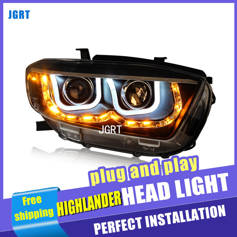 Car Styling For TOYOTA Highlander headlight assembly For Highlander LED head lamp Angel eye led DRL light H7 with hid kit 2pcs. car styling led head lamp for hyundai ix35 led headlight assembly 2010 2014 tuscon headlights drl h7 with hid kit 2pcs