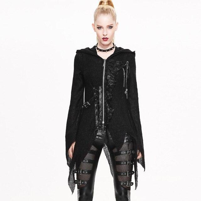 e3ddb6231 Devil Fashion Steampunk Gothic Clothing Punk Winter Women Asymmetric Length Long  Sleeve Hooded Slim Fit Coat