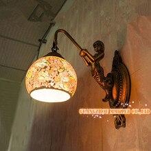 Европейская средиземное сад балкон проход мозаики ночники русалка настенные зеркала огни, Ac110-240v