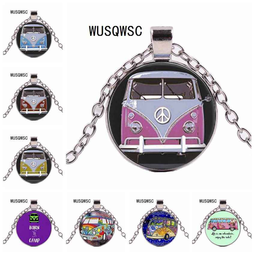 WUSQWSC Peace Sign jewelry Vintage Blue Hippy Bus Photo Pendant Blue Hippy Van Bus Photo Necklace purse bag car