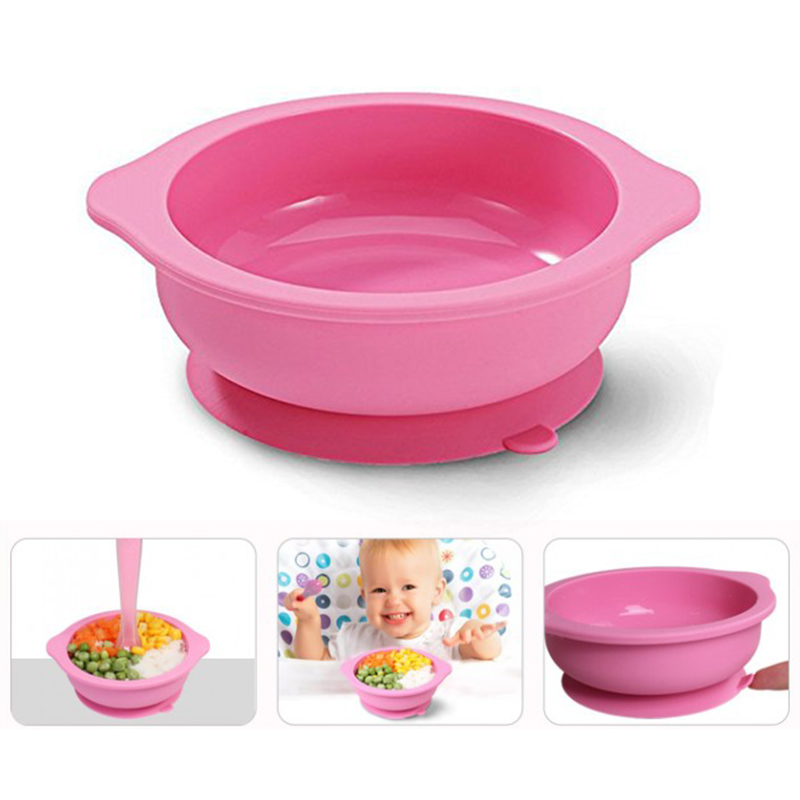 Silicone Suction Baby Bowl Heat-resistant Anti-fall Spill Proof Baby Feeding Bowls for Toddler DC120