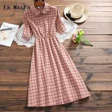 4f87134473b Mori Girl Summer Dress 2018 New Fashion Women Short Sleeve Plaid Vintage  Dresses Female Cotton Long