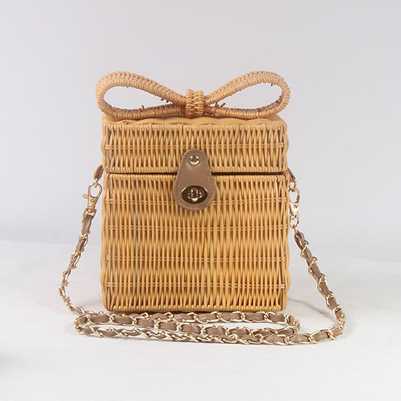 New Cute Three-dimensional Bow Square Rattan Bag Shoulder Chain  Grass Straw Bag Holiday Travel Messenger Bag