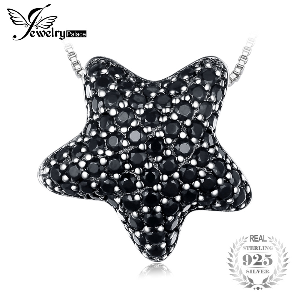 JewelryPalace Dazzling Star 0.6ct Natural Black Spinels Pave Pendant Necklaces 925 Sterling Silver 45cm Box Chain Fine Jewelry