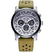 High Quality Original Brand Leather Dress Mens Watch Men Green White Chronograph Clocks Water Resistant