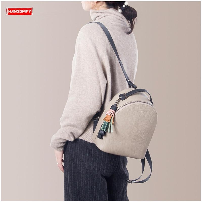 Backpack Female 2020 New Women Simple Soft Leather Cowhide Mini Backpack Luxury Fashion Small Bag Female Tassel School Backpacks