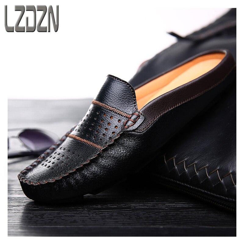 Британский Для мужчин; Кожаные Туфли летние ленивый бобы спинки тапочки сандалии Для мужчин S ноги сандалии.