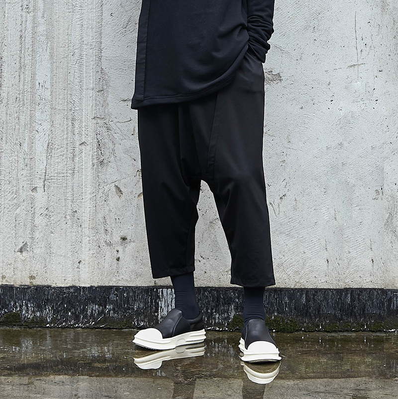 Leg-Pants Trousers Harem Streetwear Hip-Hop Loose Punk Japanese Dark-Black Male Casual