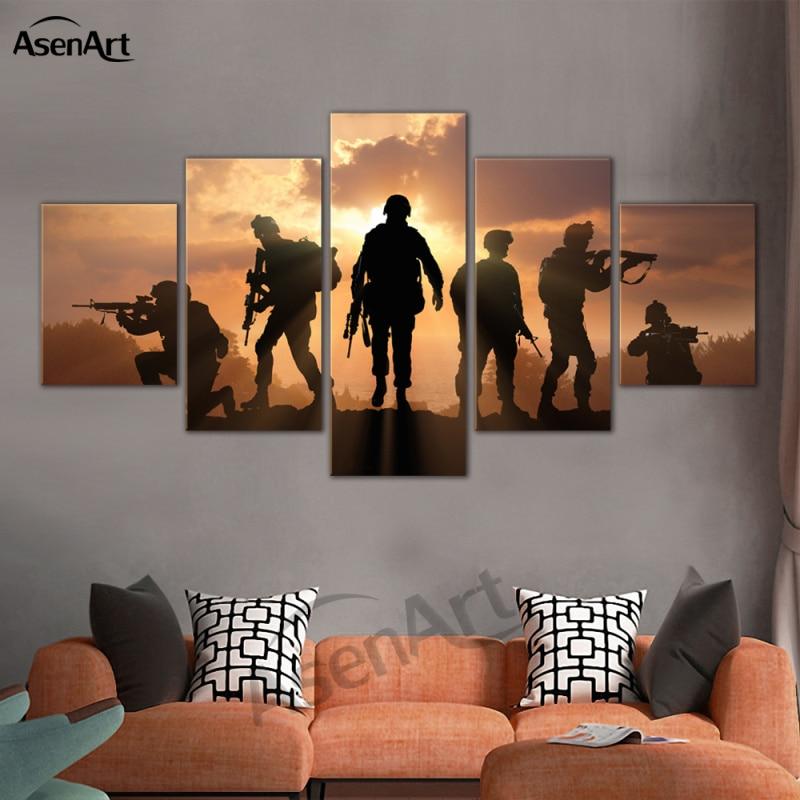 5 Panel Art Prajurit Sunset Dinding Gambar Modern Untuk Ruang Tamu - Dekorasi rumah - Foto 1