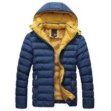 b07da68f411 Зимняя мужская толстая пуховая куртка с капюшоном Повседневная мужская  однотонная хлопковая куртка пальто с меховым воротником