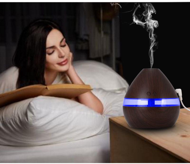 400ml Aroma Essential Oil Diffuser Ultrasonic Air Humidifier with Wood Grain LED Lights for Office Home