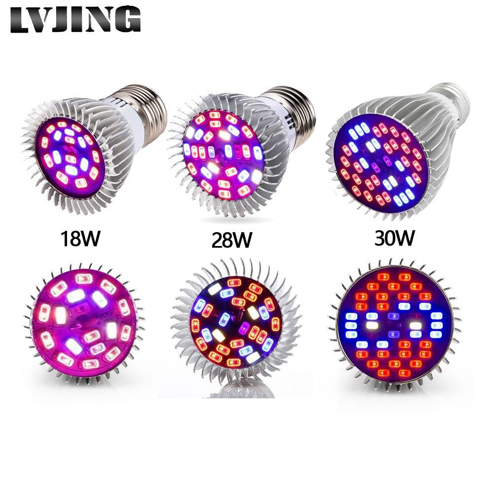 LVJING Full Spectrum18W/28 Вт/30 Вт E27 Светодиодный светильник для выращивания растений