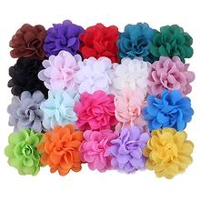 цена на Solid Candy Colors Baby Hair Clips Chiffon Flower Soft Metal Plating Paint Hairpins Barrettes For Girls Infant Hair Accessories