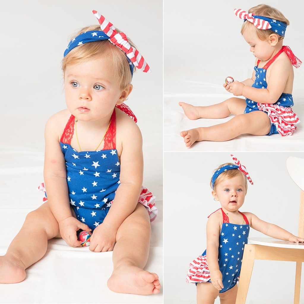 vestido infantil Toddler Baby Girls 4th Of July Stars Print Jumpsuit Romper+Headbands Set Outfit ensemble fille baby clothes(China)