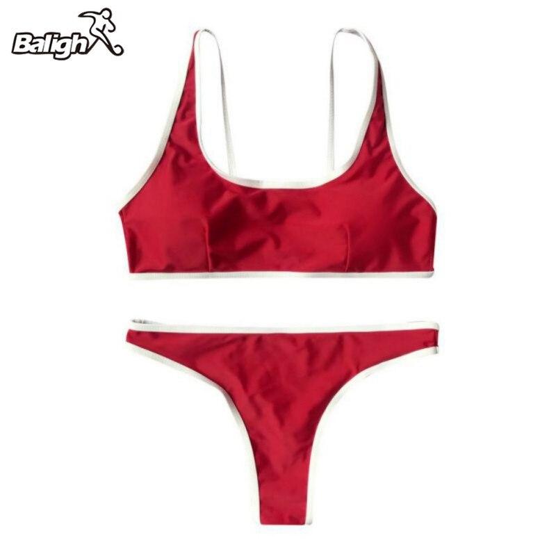 Balight Sports wind Female Women 2 Pcs/Set Sporty Summer Bikini Set Soild Colors Girl Bathing Suit Swimwear