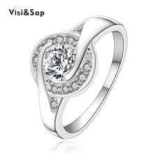 Eleple White Gold color Rings for women Engagement Ring Wedding bands gifts Wholesale jewelry accessories supplier VSR006 eleple classic wedding rings for women cubic zirconia white gold color ring gifts for lovers engagement jewelry supplier vsr013