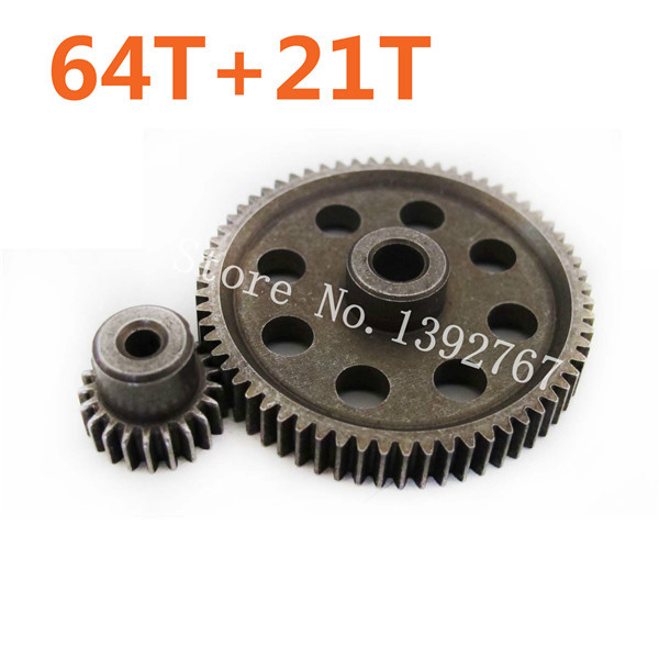 11184 Metal Diff Main Gear 64T 11181 Motor Gears 21T RC Parts 1 10 HSP Car