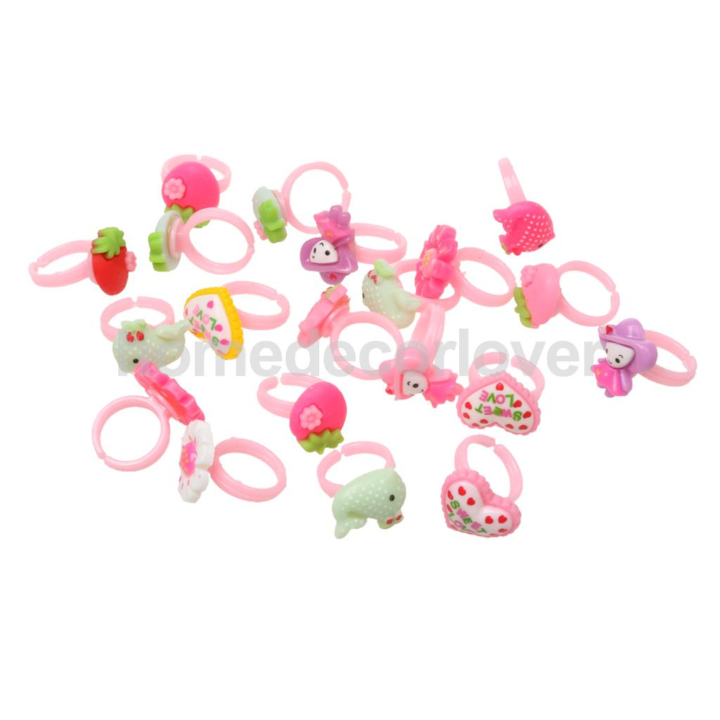 20x Girls Princess Rings Party Bag Fillers Toys Favor Lucky Pinata Prizes Birthday Favors Accessory