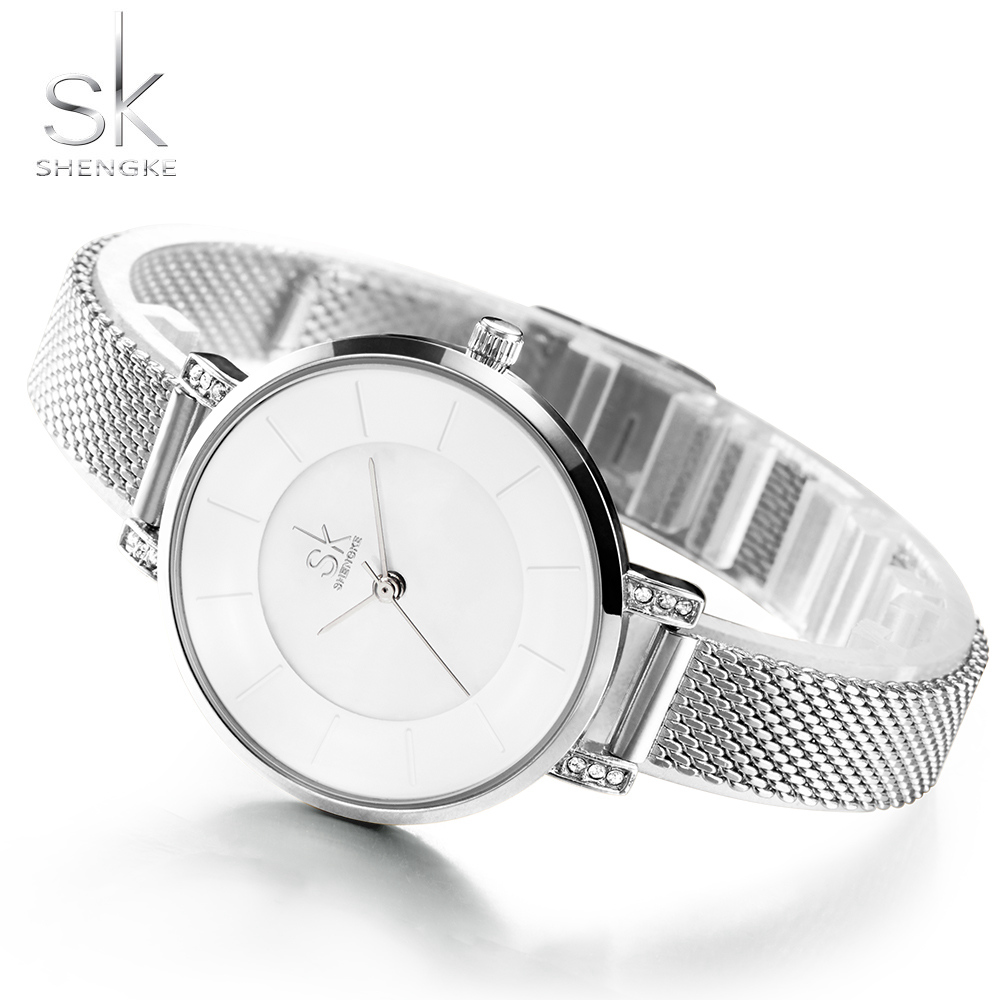 Shengke Women Watches 2017 Fashion Ladies Wrist Watch Stainless Steel Band Gold Silver Bracelet Quartz Watch Relogio Feminino SK rigardu fashion female wrist watch lovers gift leather band alloy case wristwatch women lady quartz watch relogio feminino 25