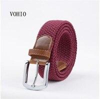 Mode Hommes toile élastique stretch ceinture femmes aiguille tissé ceinture boucle Jeunes hommes et femmes étudiants tissé ceintures Livraison gratuite