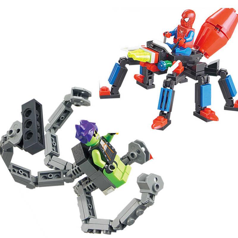 143 Uds. LegoING Spiderman VS monstruos verdes modelo ciudad súper héroes amigos bloques de construcción juegos de ladrillos juguetes regalo de Navidad