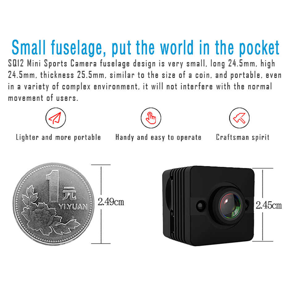 Mini Camcorder SQ12 HD Night Vision Camera 1080P Mini USB Sport DV Waterproof Flexible Voice Video Recorder Action Bike Cameras
