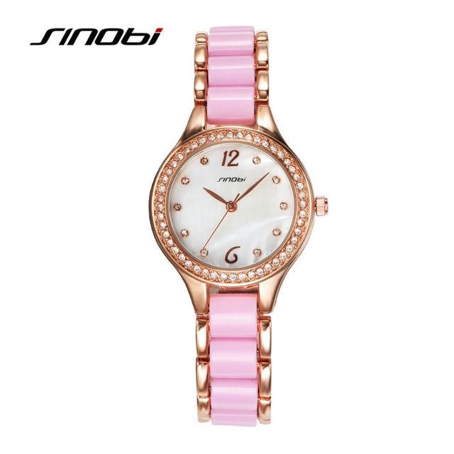 SINOBI Fashion Women's Bracelet Watches For Elegant Ladies Watches Rose Gold Wri
