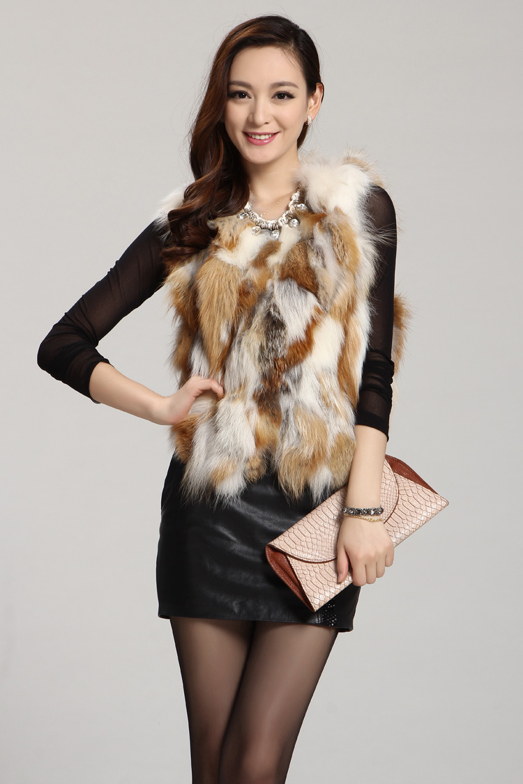 Free Shipping Women's Real/natural genuine red Fox Fur Vest Winter Gilet new fashion jacket  Coat outwear waistcoat customized