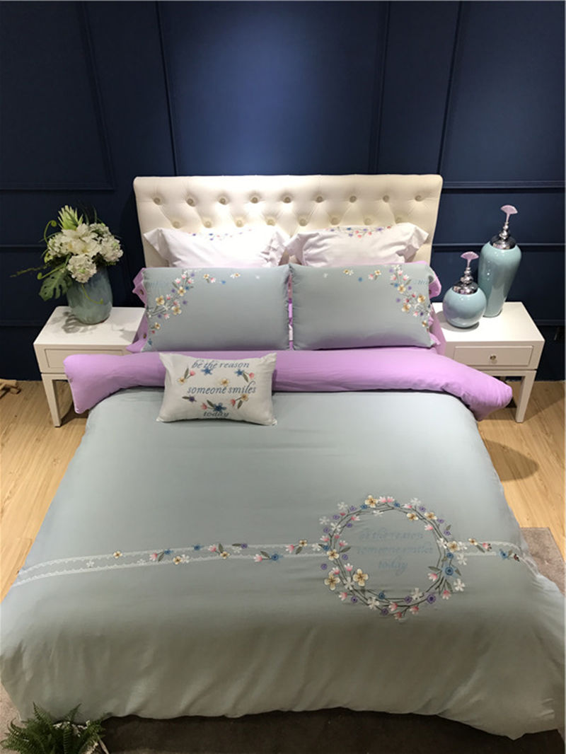Luxury Cotton Bedding Set Gray Pink Red Duvet Cover Sets